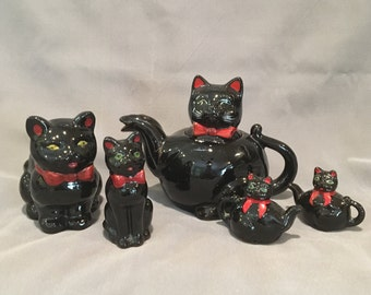 Vintage Shafford Black Cat Redware - Teapot - Salt and Pepper - Salt - Planter - Made in Japan - 1950s Fabulous!