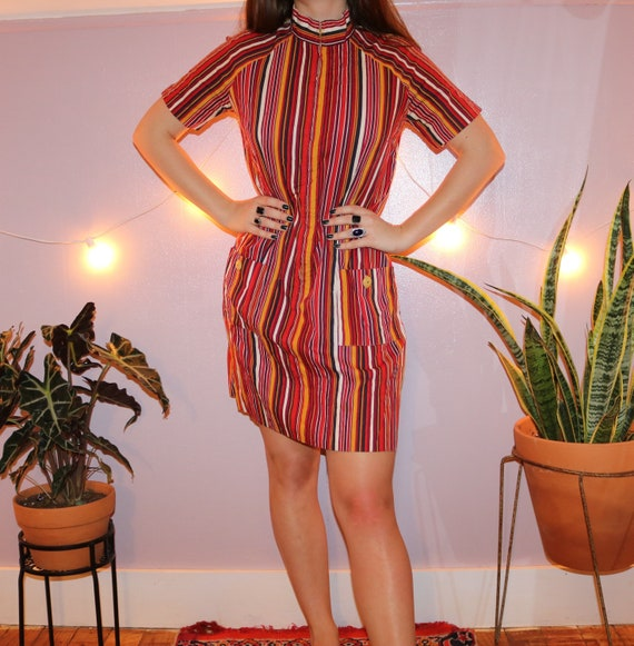 Vintage 60's Striped Mod Shift Dress