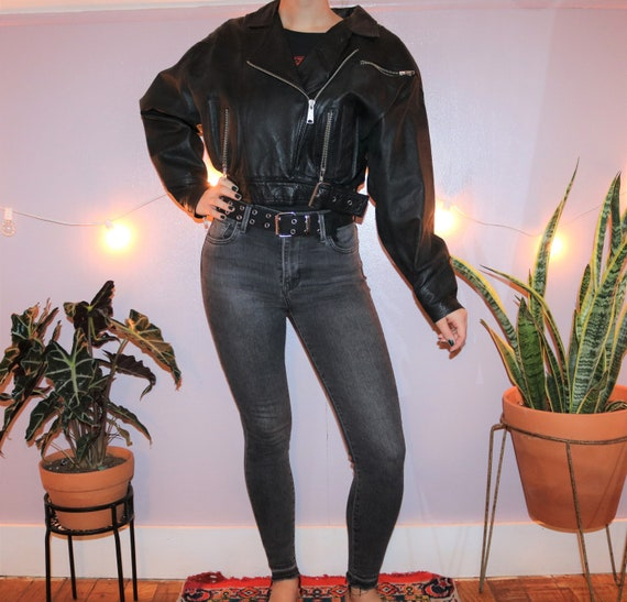 Vintage 80's Leather Moto Jacket by G-4000