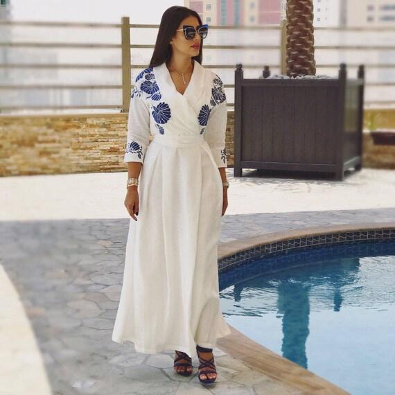Embroidered linen resort dress, Greek style Bohemian sundress, Bali vacation outfit, white linen embellished kaftan, Ukrainian Vyshyvanka