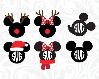 Mickey & Minnie Christmas SVG, Mickey Monogram Files, Minnie Monogram Cutting Files, Cricut, SiIhouette, Clipart, dxf eps png jpg, C-061