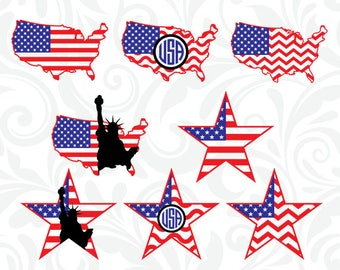US Map SVG, USA Flag Map Files, United Stated Star Monogram Cutting Files, Cricut Design, SiIhouette Cameo, Clipart, dxf eps png jpg, C-051