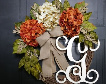 Fall Wreath for Front Door - Autumn Wreath - Hydrangea Initial Wreath -  Monogram Grapevine Wreath -  Housewarming Gift - Fall Decoration