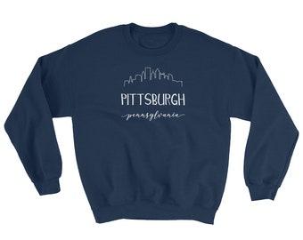 a3073c34d2b Pittsburgh Pennsylvania Sweatshirt - Downtown Pittsburgh Skyline  Calligraphy Shirt - Penn State Sweatshirt