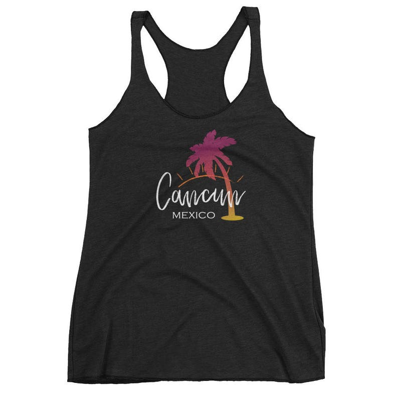169ae1e0aca504 SALE Cancun Mexico Tank Top Calligraphy Sunset Palm Tree