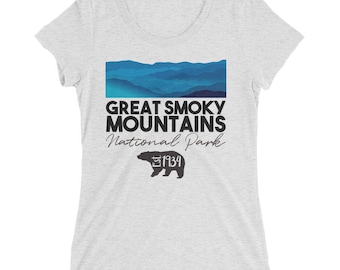 Great Smoky Mountains National Park Shirt - Tennessee North Carolina Black Bear Est 1934 Tee - Womens Short Sleeve T-Shirt