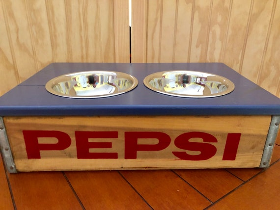 Pepsi-Cola Wood Soda Crate Dog Feeder with Bowls