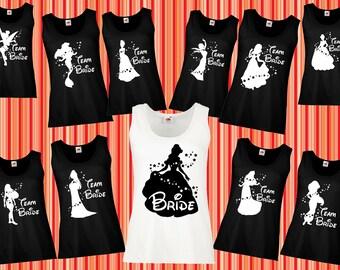10eb810e9 109 Bachelorette party - Bridal party, Disney bride, bride team, bride  squad party, disney bachelorette party, braidsmaid shirts, tank tops