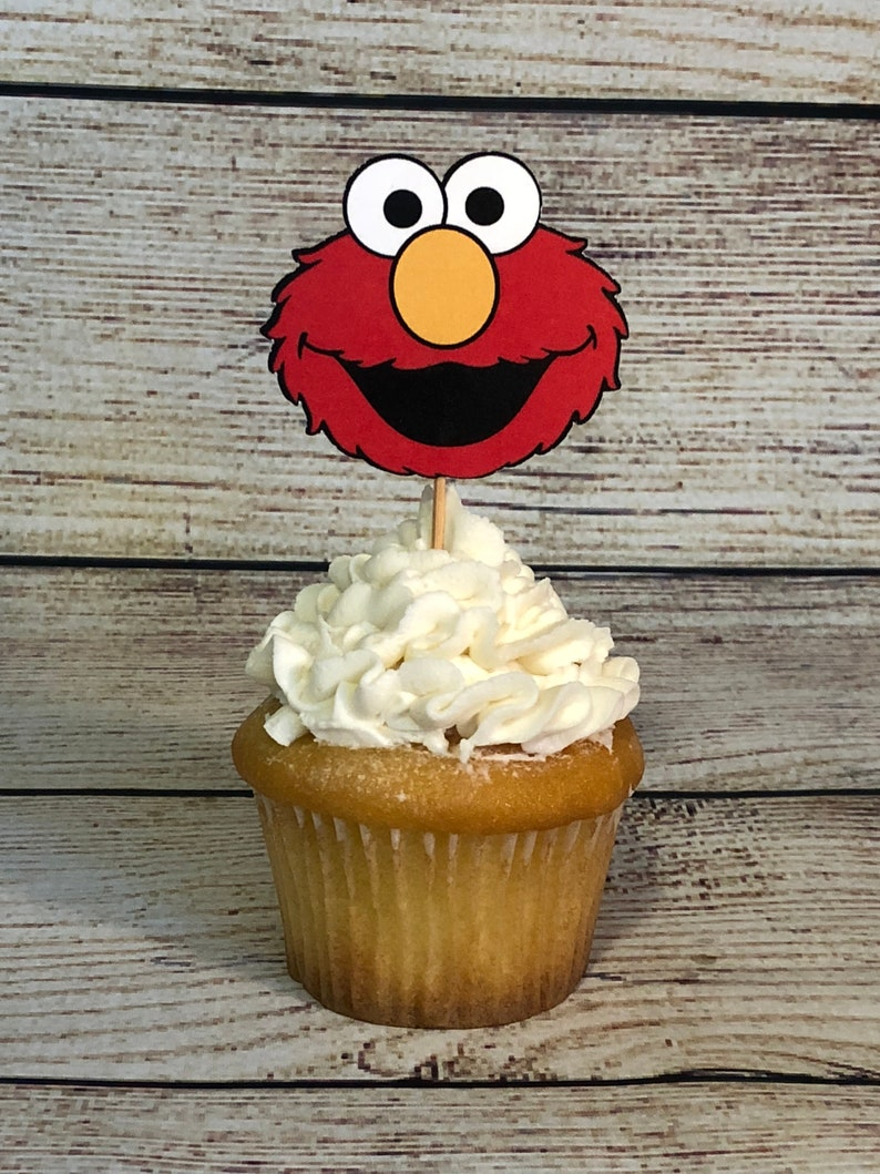 Elmo Cupcake Toppers Birthday Decorations 1st