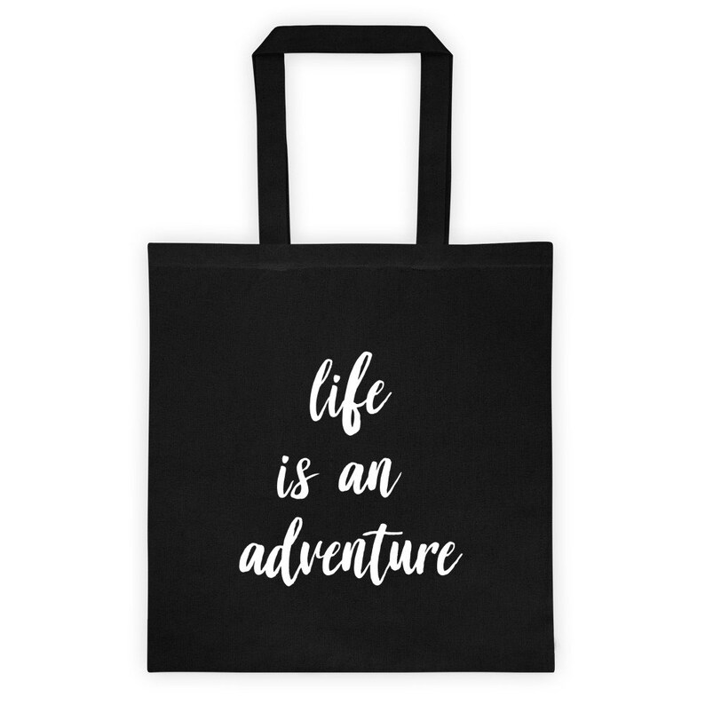 reusable birthday present Bill Murray black Life is an adventure quote, cotton tote gift tote bag,lightweight