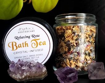 Rose Bath Tea with Crystal Gemstones and Muslin Bag