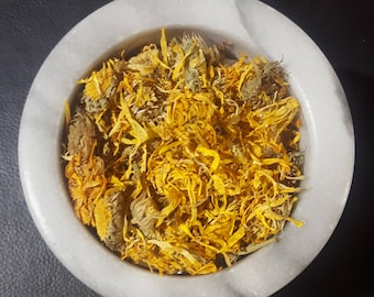 Organic CALENDULA Flowers Whole Dried Herb & Petals, 1 oz for DIY and Tea