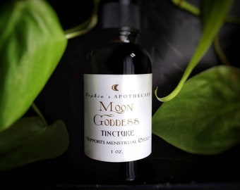 MOON GODDESS - Herbal Tincture for PMS, Menstrual Cycle, Cramp Relief, Period Pain, Fertility / Vegan & Organic (1 oz.)