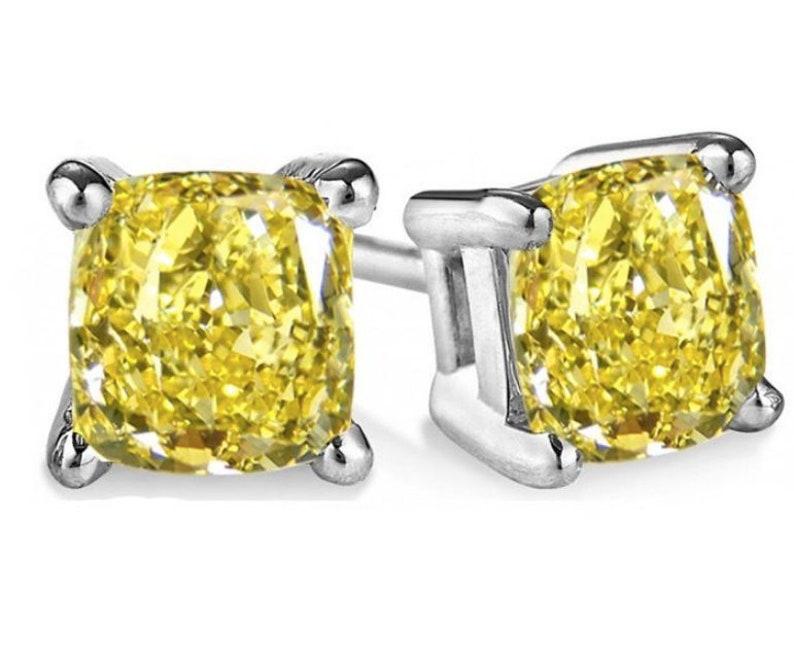 Yellow Gold 14k \u00a0Fancy Earrings  Created 1.00 TCW Radiant Canary Yellow Cushion Diamond Stud Earrings White