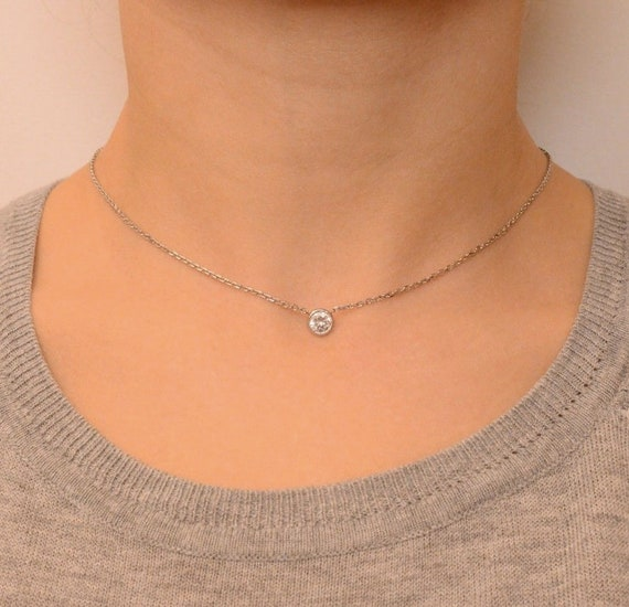 """0.15 Ct Diamond By The Yard Single Station Necklace Man Made14k Gold 16"""""""