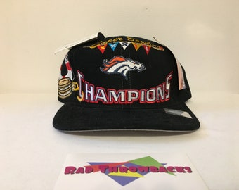 572cfd2f8 New Dead Stock Vintage 1998 Denver Broncos Super Bowl XXXII 32 Champions  Logo Athletic Snapback Hat with Original Tags and Sticker