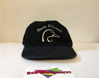 8db9072821e Vintage Rare 1980s Ducks Unlimited One Duck Black Corduroy Snapback Hat