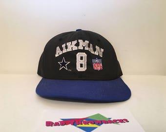 51cc8ec265d Vintage Dallas Cowboys Troy Aikman NFL Quarterback Club Black Blue AJD  Snapback Hat