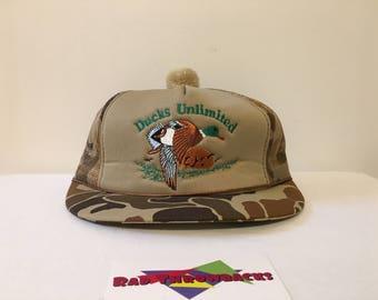 New Dead Stock Vintage Rare 1987 Ducks Unlimited Women s Camouflage Camo  Snapback Trucker Hat ad4b446a384