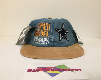 New Dead Stock Rare Vintage 1996 Super Bowl XXX 30 Champs Dallas Cowboys  Starter Denim Strapback Dad Hat with All Original Tags and Sticker ec29ab319