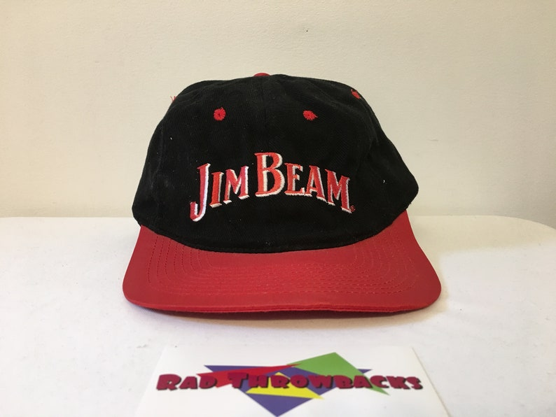 1fc8549e7e7 Vintage 1990s Jim Beam Black Red Snapback Hat