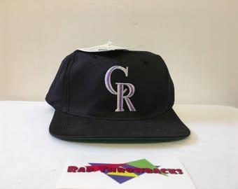 New Dead Stock Vintage 1990s Colorado Rockies Black Snapback Hat with Original Tags