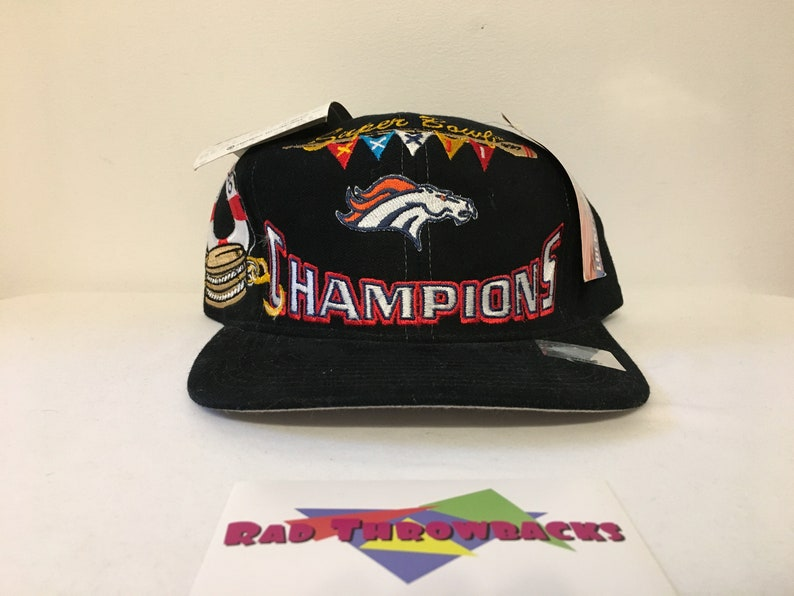 862c80a1 New Dead Stock Vintage 1998 Denver Broncos Super Bowl XXXII 32 Champions  Logo Athletic Snapback Hat with Original Tags and Sticker