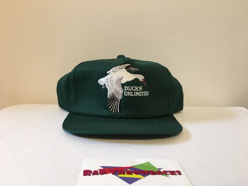 New Dead Stock Vintage Rare 1980s Ducks Unlimited Central Flyway White Duck  Green Snapback Hat
