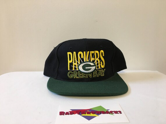 f25b8a64 Vintage Green Bay Packers NFL Black/Green Big Logo Signature Snapback Hat