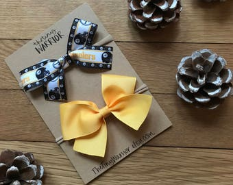 Pittsburgh Steelers Bow // Black and Gold Bows // Bow Sets
