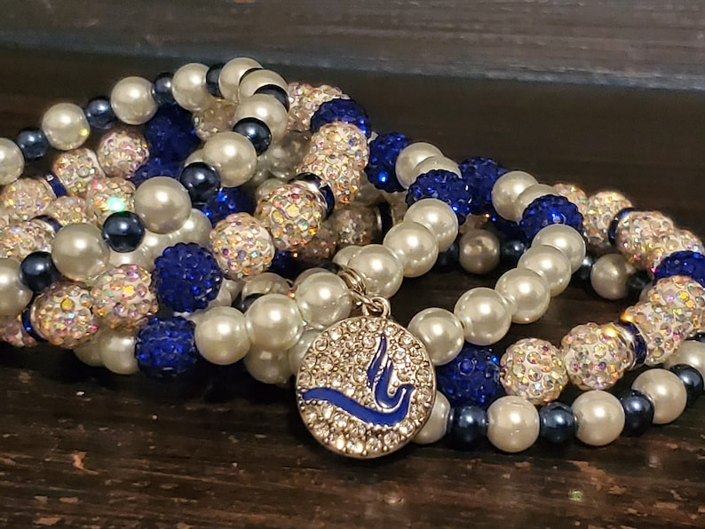 Bracelet Stack Elegant Royal Blue and White Pearl Necklace and Bracelet Set Charm Bracelet Stack with Necklace Royal Blue and White Pearl