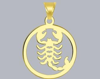 14K Yellow Gold Solid Satin Polished Aquarius Zodiac Oval Pendant