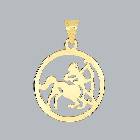 14k Yellow Gold Large Sagittarius Zodiac Charm