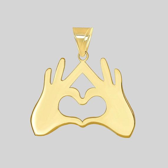 14K Yellow Gold Eternity Sign Charm Armenian Symbol Pendant with Cubic Zirconia Gemstones