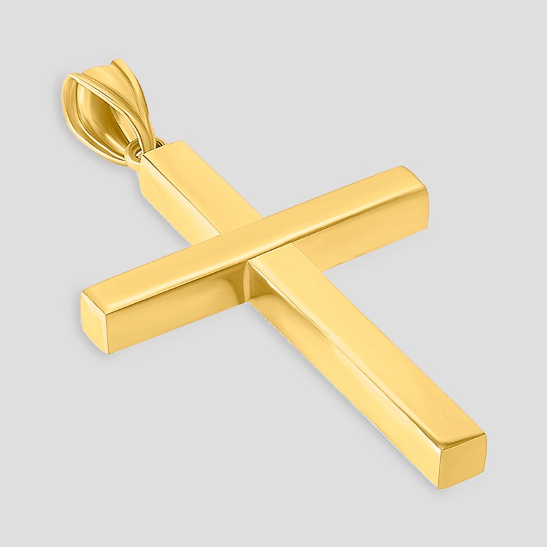 High Polished 14K Yellow Gold Plain Slender Large Cross Pendant with Chain Necklace