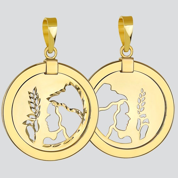 14k Yellow Gold Dainty Round Virgo Holding Wheat Zodiac Sign Cut-Out Disc Pendant