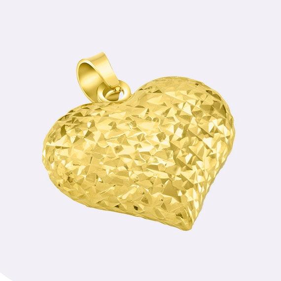 14k Yellow Gold CZ Heart Design Key Pendant Charm