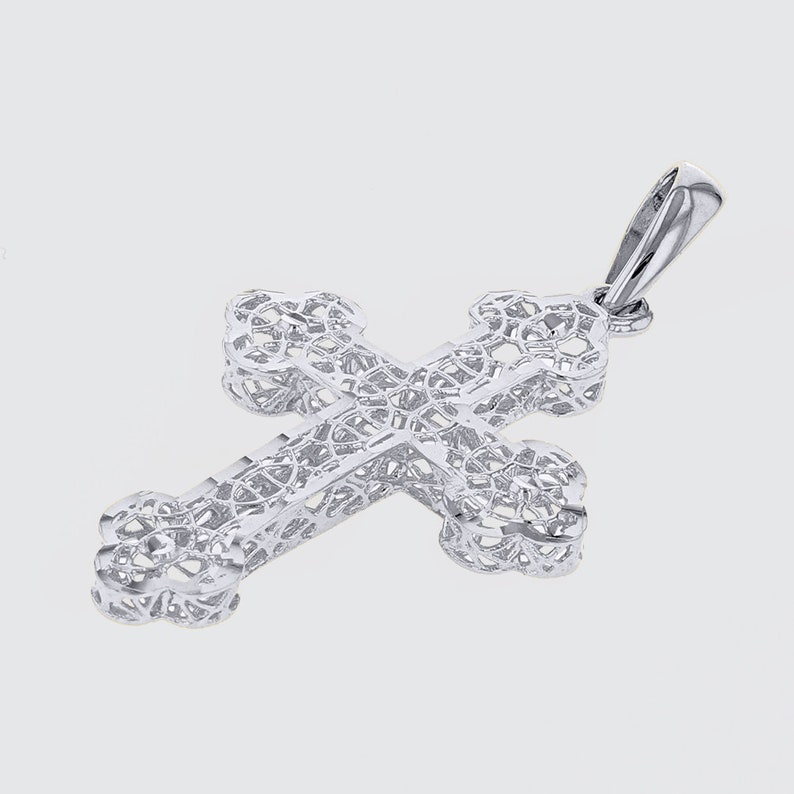 Handcrafted Textured 14K White Gold Eastern Orthodox Cross Charm Pendant with Filigree Design