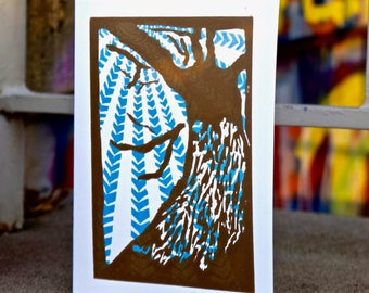 5 Hand Printed Greeting Cards in Tan/Blue