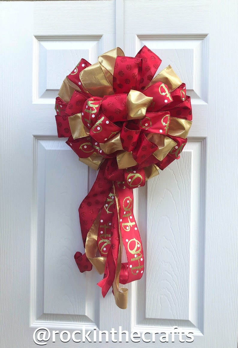 Door Hanger Big Bow Elegant Red Gold Christmas Wired Ribbon Tree Topper Bow Garland Bow Holiday Large Bow Mantel Bow Decorative Bow