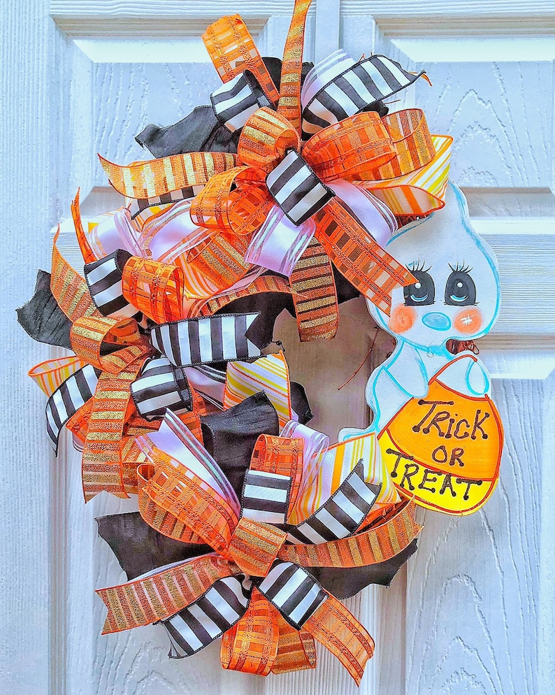 Halloween Ghost Candy Corn Grapevine Ghost Wreath Halloween image 0
