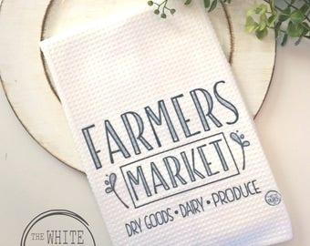 Farmers Market Kitchen Towel, Farmers market Towel, Tea Towel, Waffle Towel, Farm Dish Towel, Rustic Decor Dish Towel, Market tea towel