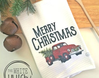 Vintage Christmas Truck, Merry Christmas Kitchen Towel, Red Christmas Truck, Kitchen Tea Towel, Christmas Towel, Holiday Decor Towel, Xmass