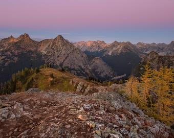 Twilight and Larch Trees in the North Cascades, Washington |  Pacific Northwest Photography | Print | Metal, Canvas, or Lustre
