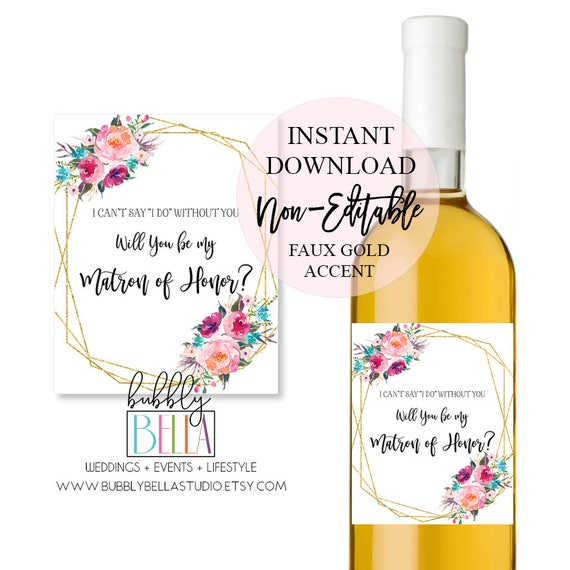 graphic about Printable Wine Bottle Tags known as Marriage ceremony Wine Labels, Wine Bottle Label, Bridesmaid Proposal Wine Label, Matron of Honor Wine Label, Printable Wine Label, Wine Stickers