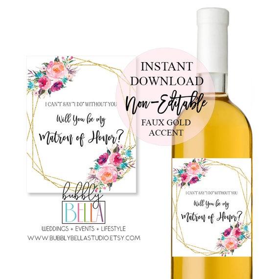 photo regarding Printable Wine Bottle Tags identify Marriage ceremony Wine Labels, Wine Bottle Label, Bridesmaid Proposal Wine Label, Matron of Honor Wine Label, Printable Wine Label, Wine Stickers