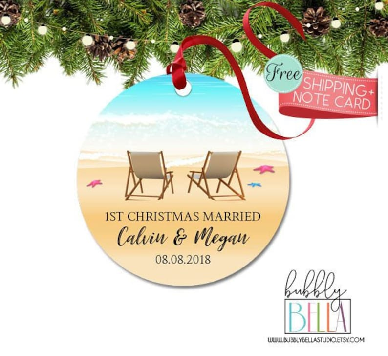 Beach Christmas Ornaments First Christmas Mr Mrs Newlywed Gift Beach Vacation Christmas Gift Christmas Wedding Married Ornament Gift