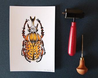 Orange Scarab Beetle Linoleum Print