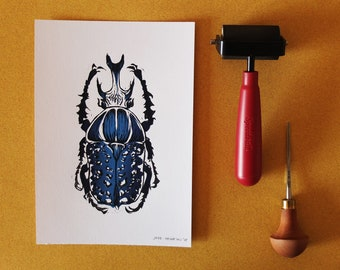 Blue Scarab Beetle Linoleum Print