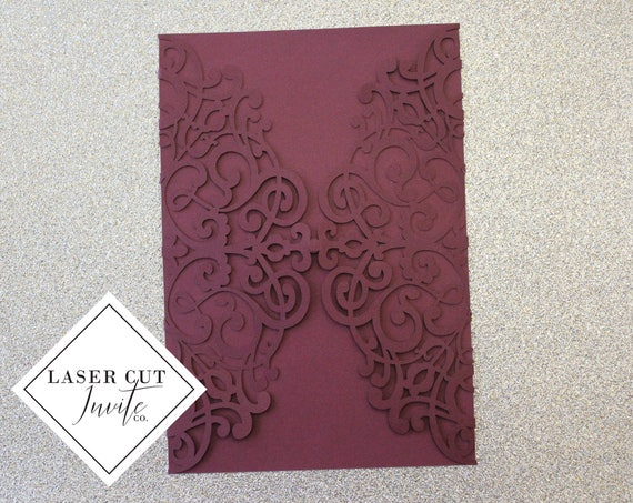 Laser Cut Invitation Enclosure // Swirls Gate Fold // Matte Burgundy //  Other Colors Available // Laser Cut Backing DIY Invites